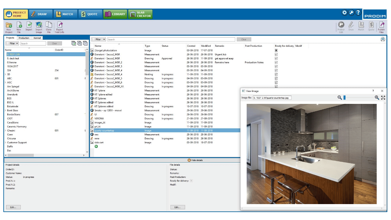 Screenshot - Prodim Factory Software - Project Home