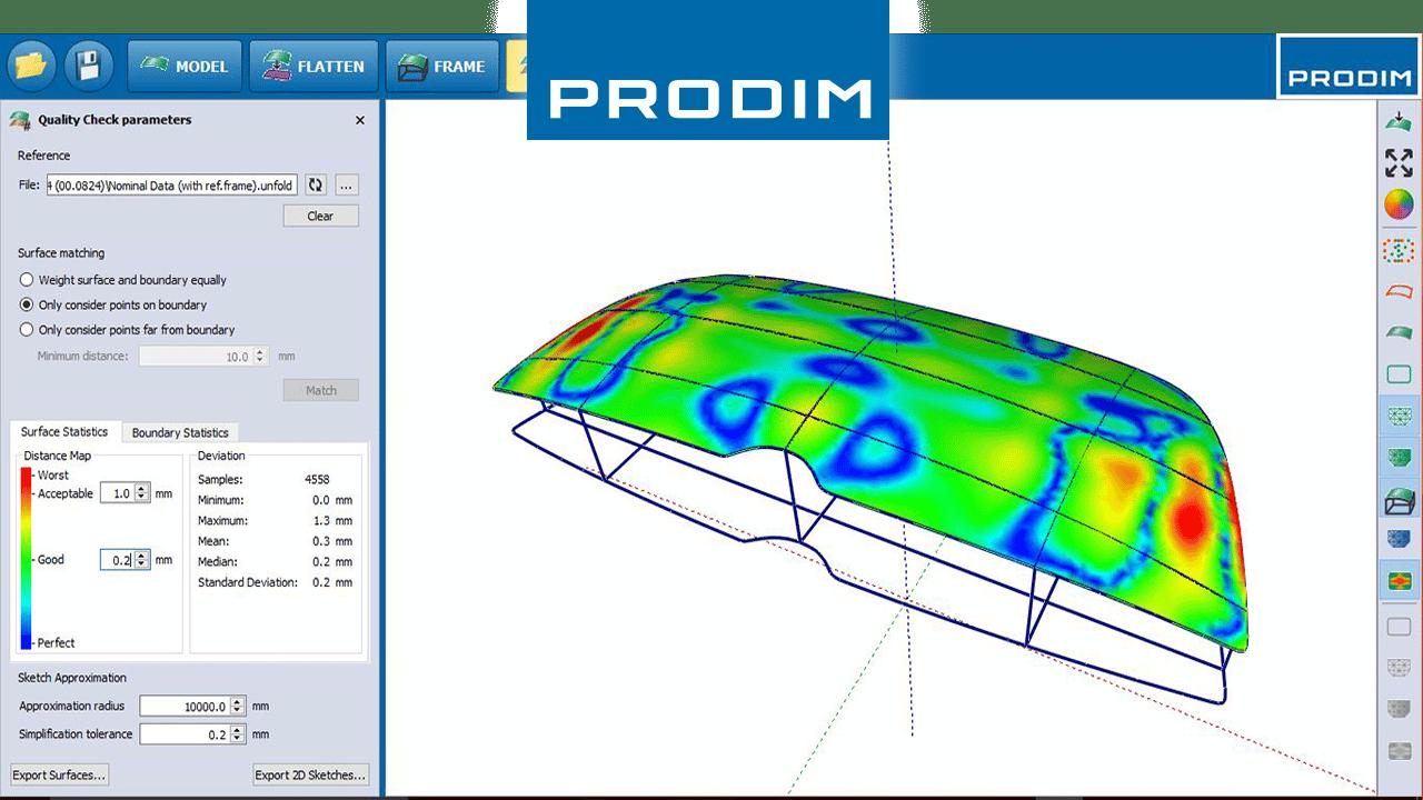 Prodim komplette digitale Vorlagenlösungen - Anwendungsbasierte Branchensoftware - Screenshot der Prodim Bent Glass Software