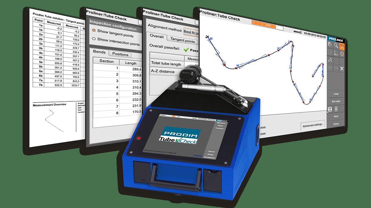 Screenshots der Prodim TubeCheck-Software und ein Bild eines Proliner 10IS