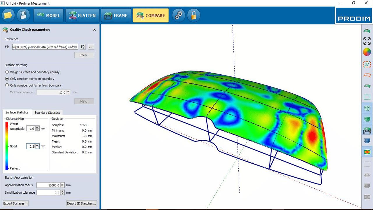 Screenshot - Prodim Bent Glass Software - Vergleichen