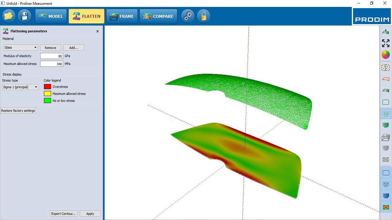 Screenshot - Prodim Bent Glass Software - Abwickeln