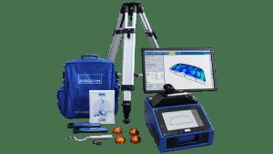 Abbildung des Prodim Bent Glass-Pakets mit einem Proliner Tracker der Industry Series und den Softwarelösungen Prodim Bent Glass