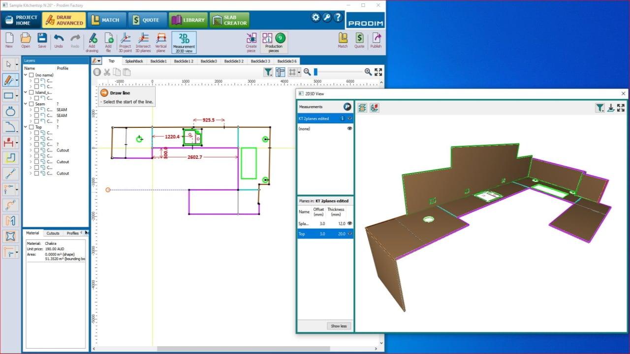 Screenshot - Prodim Factory software - Draw Advanced